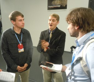 SustainUS delegates being interviewed by Grist, photo by Adam Pearson